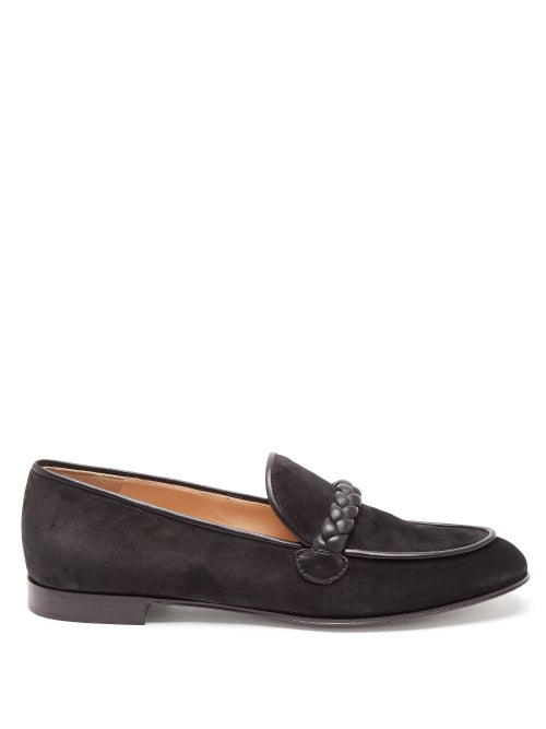 Gianvito Rossi - Benny Leather-trimmed Suede Loafers - Womens - Black