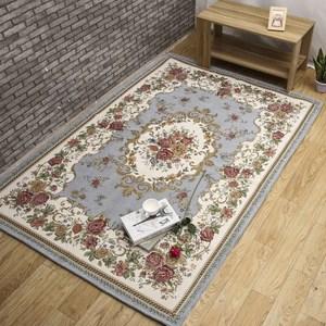 【三房兩廳】歐式風格雪尼爾緹花編織地毯140*200加大款淺藍色