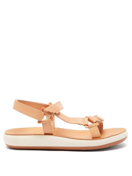 Ancient Greek Sandals - Poria Wing-tip Leather Sandals - Womens - Tan