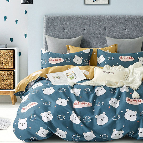 床包被套組-單人/雙人/加大/ 精梳純棉 / 白熊友約 台灣製