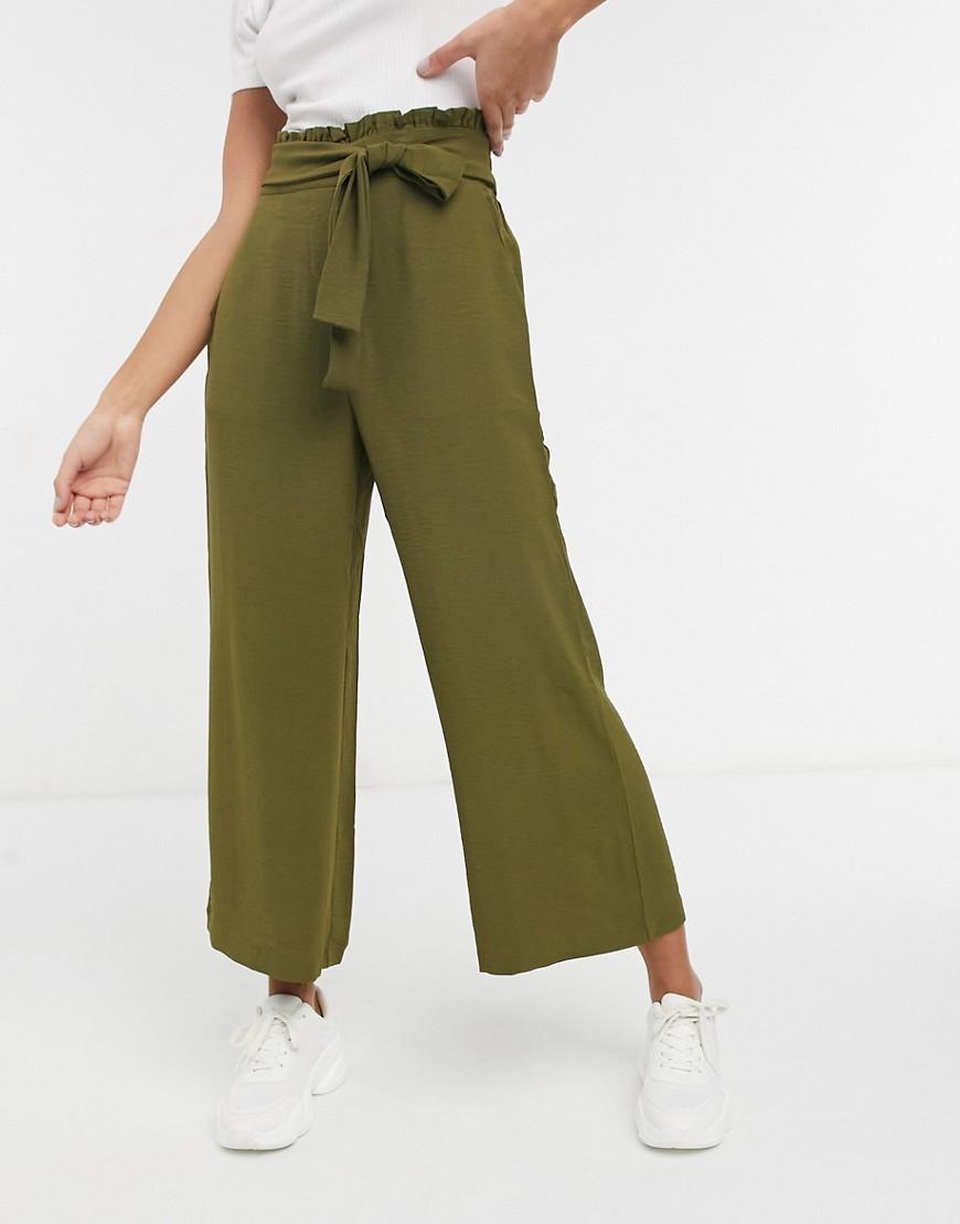 Vila tie waist wide leg trousers in dark olive green