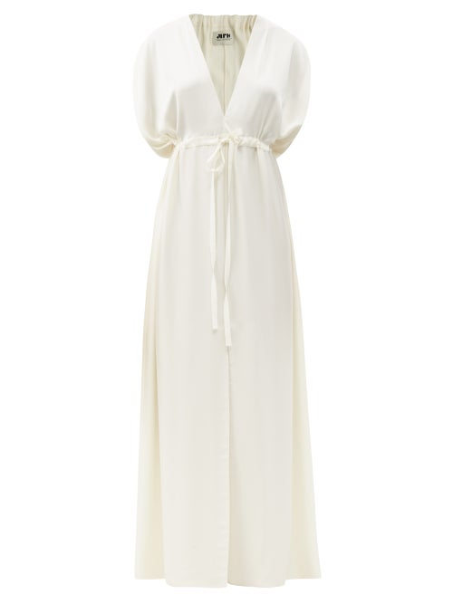 Maison Rabih Kayrouz - Drawstring-waist Satin Maxi Dress - Womens - White