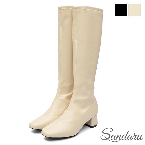 韓國直送 高質感全素面內刷毛粗跟長靴-米