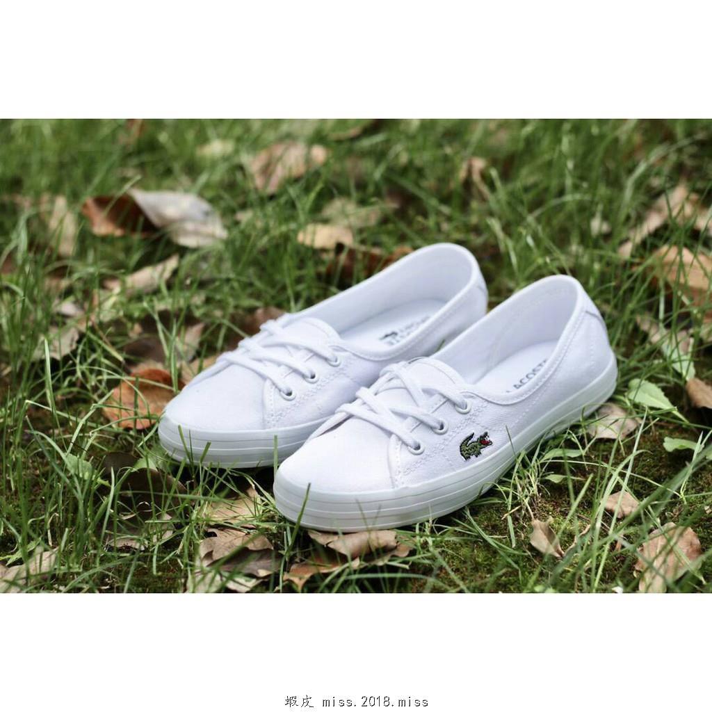 【特價】LACOSTE 經典款3孔休閒帆布鞋 白色*EU35.5~39。S80305
