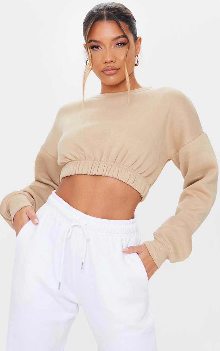 Sand Ruched Hem Cropped Sweatshirt