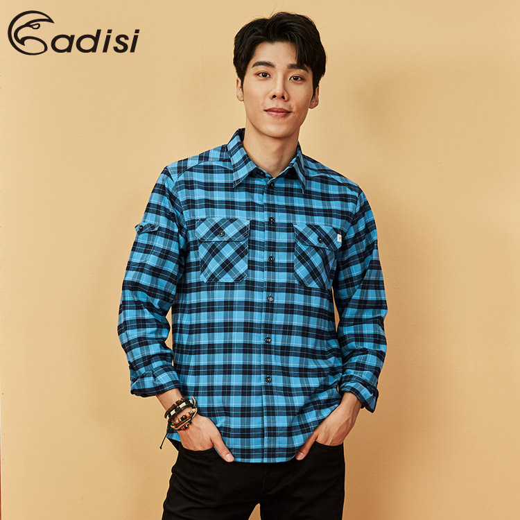 ADISI 男格紋速乾保暖襯衫AL1821081 (S-2XL) / 城市綠洲 (中空保暖紗、快乾、吸濕發熱)