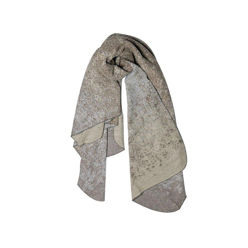 棕色經編冰裂紋提花圍巾