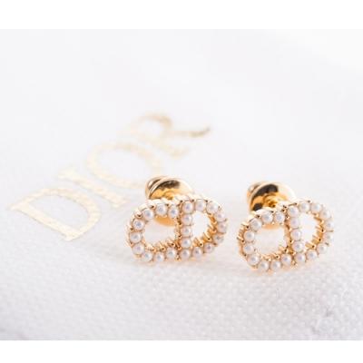 DIOR 新款 Clair D Lune「CD」珍珠鍍金金屬針式耳環