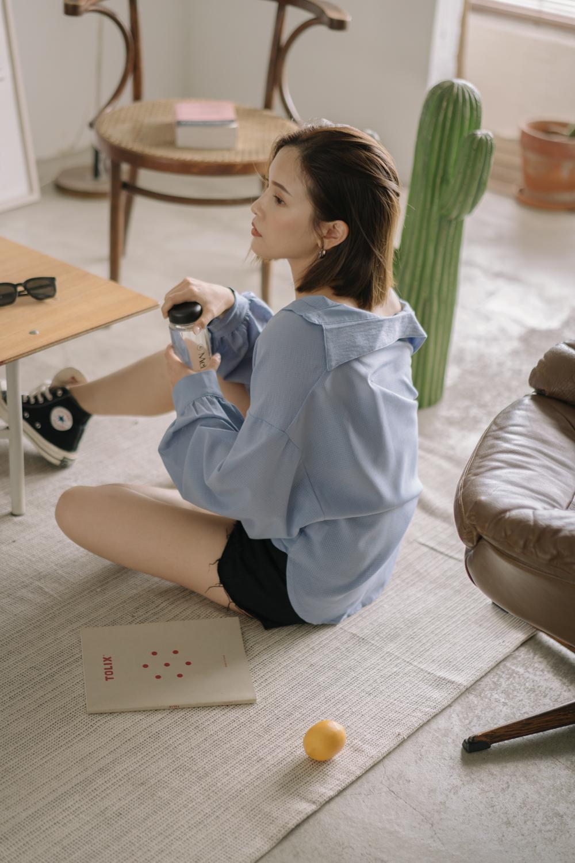 Mellow+隱形格紋慵懶澎袖襯衫
