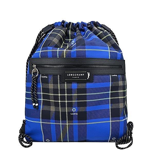 【南紡購物中心】LONGCHAMP GREEN DISTRICT系列ECONYL認證再生尼龍格紋前口袋束口後背包(藍)