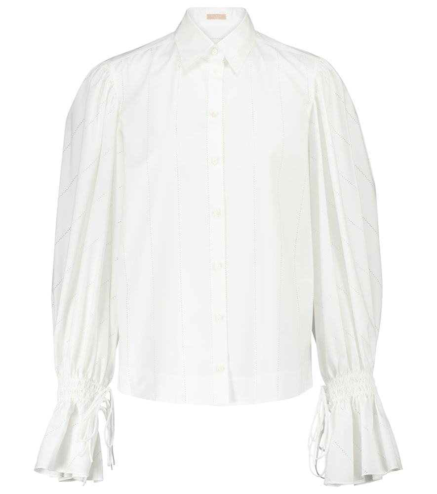 Laser-cut cotton-poplin shirt
