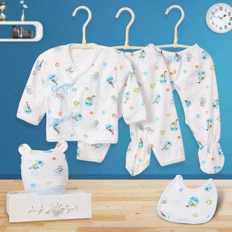 ✟■新生嬰兒純棉衣服 寶寶內衣五件套裝 嬰兒長袖和尚服 嬰幼兒長褲 寶寶圍嘴 帽子 套裝 滿月禮0-3月【IU貝嬰屋】