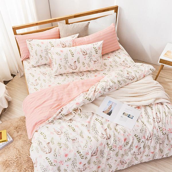 床包被套組(薄被套)-雙人 / 精梳純棉四件式 / 尋覓夥伴 台灣製