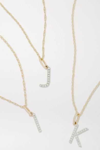STONE AND STRAND - Alphabet 9k 黄金钻石项链 - 金色 - J