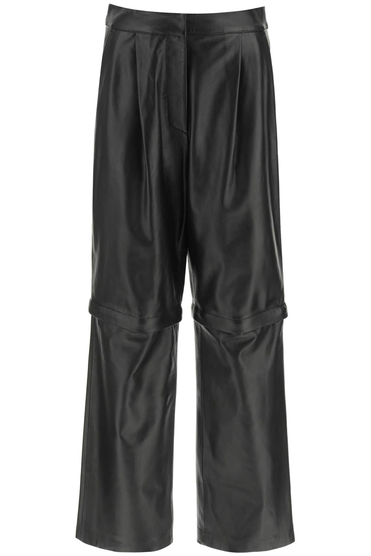 SPORTMAX 2 IN 1 NAPPA TROUSERS 38 Black Leather