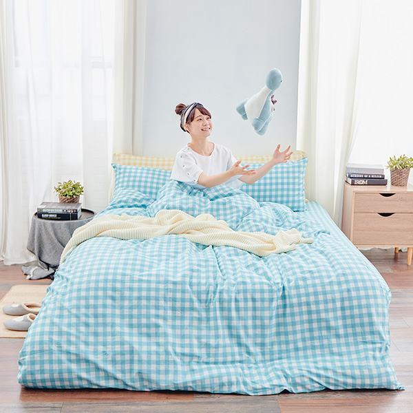 床包被套組(薄被套)-雙人 / 精梳純棉四件式 / 夏日蘇打 台灣製