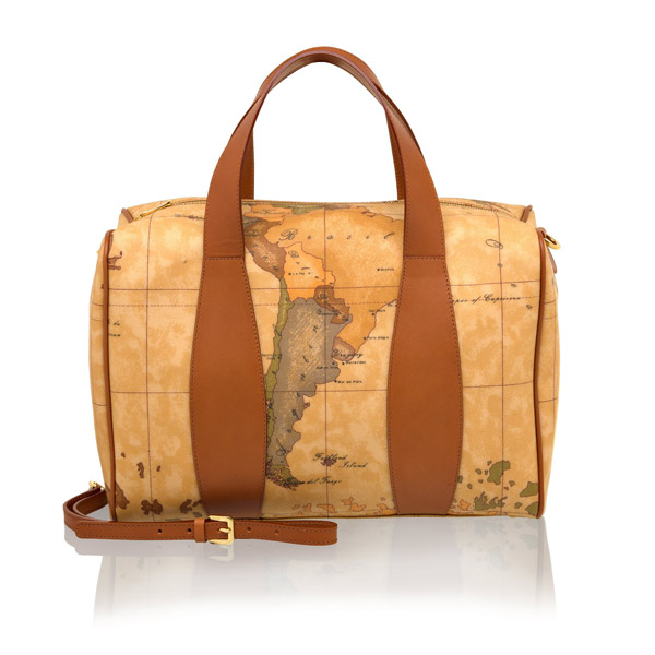 【Alviero Martini 義大利地圖包】波士頓手提肩背包(大)-地圖黃