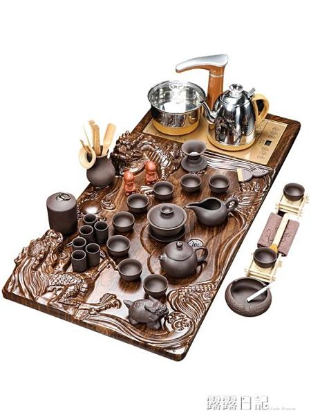 功夫茶具套裝茶盤實木家用全自動客廳簡約辦公室陶瓷泡茶壺台道海 露露日記