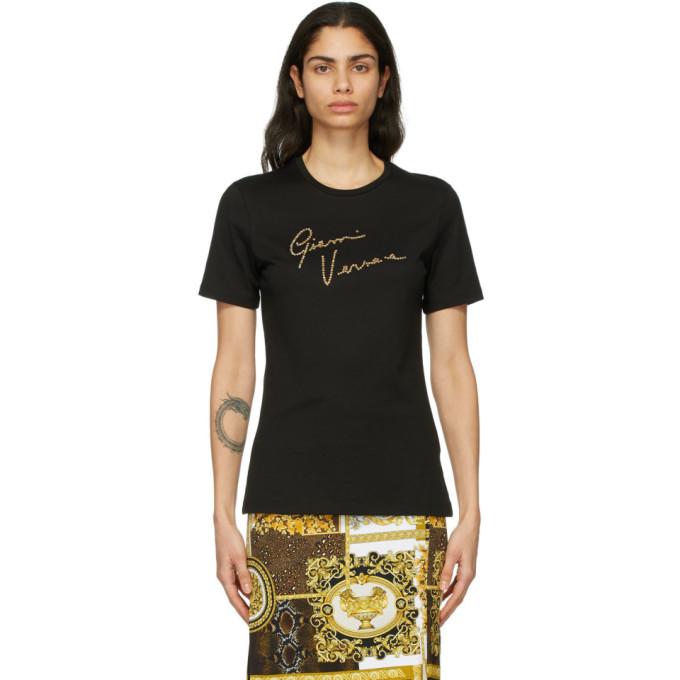 Versace 黑色 GV Signature Crystal T 恤