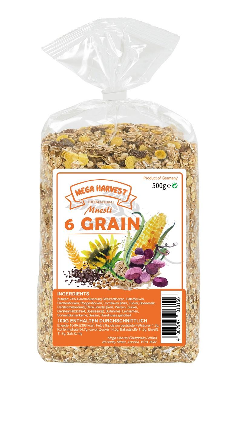 Mega Harvest 什錦穀片   Mega Harvest--6-Grain Muesli  500g