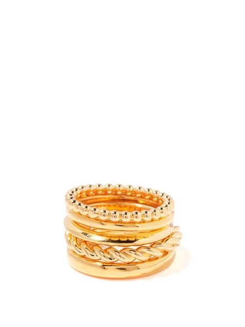 Bottega Veneta - Set Of Five 18kt Gold-plated Sterling-silver Rings - Womens - Gold