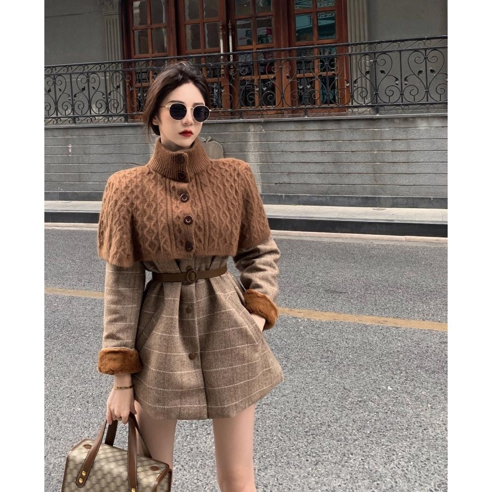 毛呢套裝秋冬新款高領針織開衫外套圓領長袖連衣裙兩件套女裝