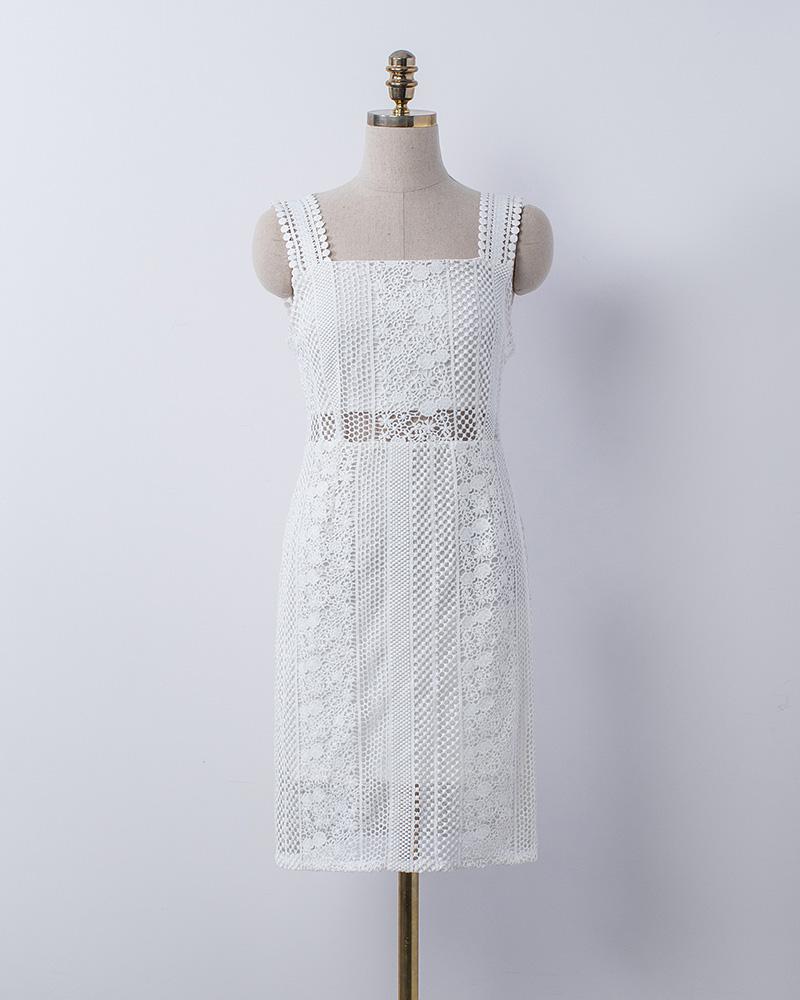 織花細帶法式洋裝-Mercci22