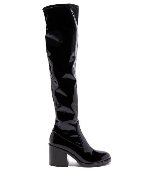 Fabrizio Viti - Madison Patent-leather Knee-high Boots - Womens - Black