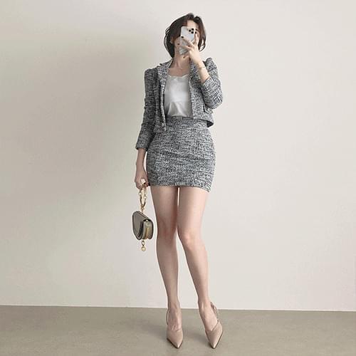韓國空運 - Kanadaran Tweed Pearl Spread Crop Jacket Mini Skirt Two Piece Set 套裝