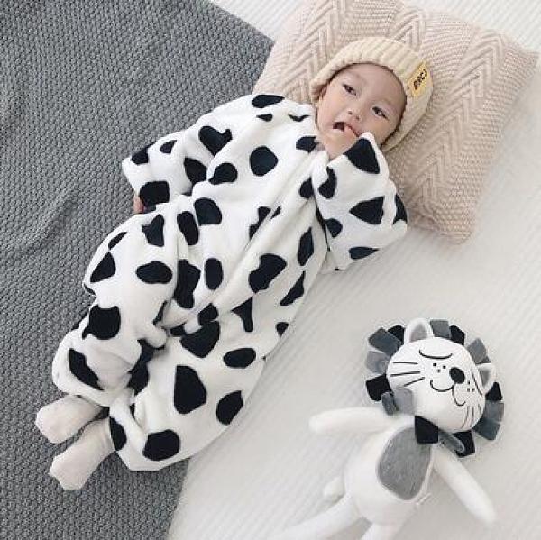 寶寶珊瑚絨連身睡衣秋冬季1歲男女嬰兒法蘭絨家居服加厚兒童防踢2