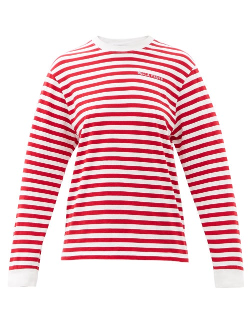 Bella Freud - Logo-embroidered Striped Cotton-jersey T-shirt - Womens - Red
