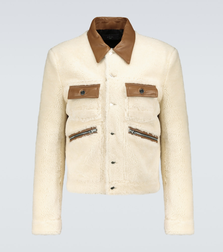 Contrasted shearling trucker jacket