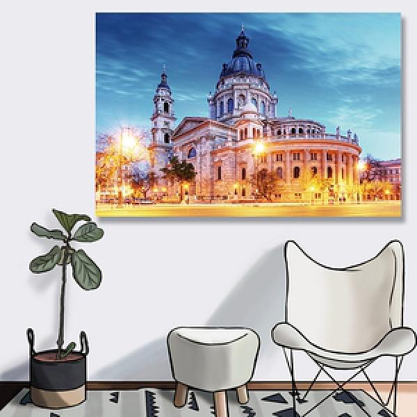 【24mama 掛畫】單聯式油畫布無框畫 60x40cm-聖史蒂芬教堂油畫布無時鐘