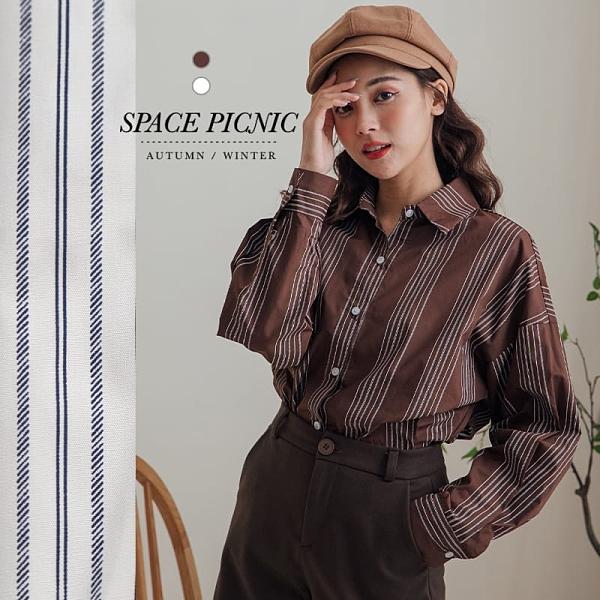 長袖 襯衫 Space Picnic|粗細直條紋長袖襯衫(現貨)【C20125013】