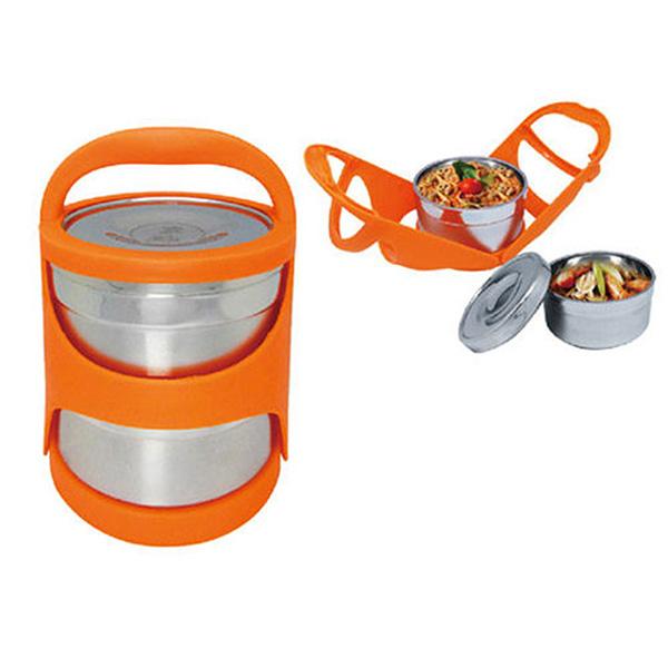 免運 鍋霸 雙層提籃保溫便當盒-橘 GU-11 (送贈品)