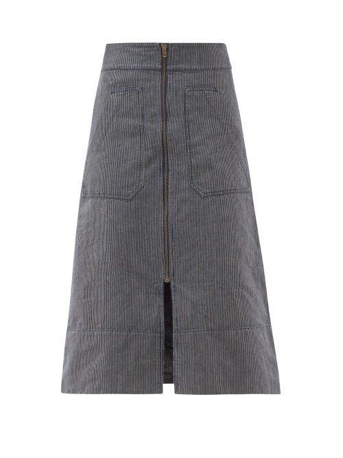 Ssone - Oak Denim A-line Skirt - Womens - Denim