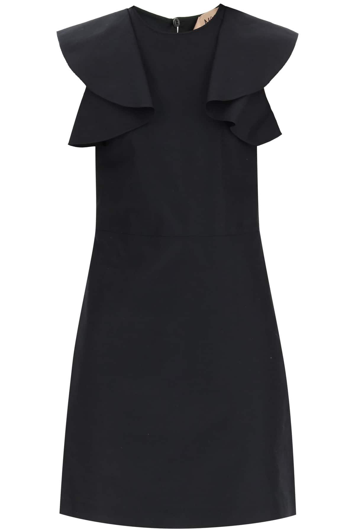 N.21 COTTON MINI DRESS WITH RUFFLES 38 Black Cotton