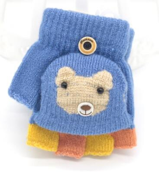 兒童手套 寶寶手套冬天0-1-3-6歲半指五指小孩漏指幼兒童可愛2手套保暖【快速出貨好康八折】