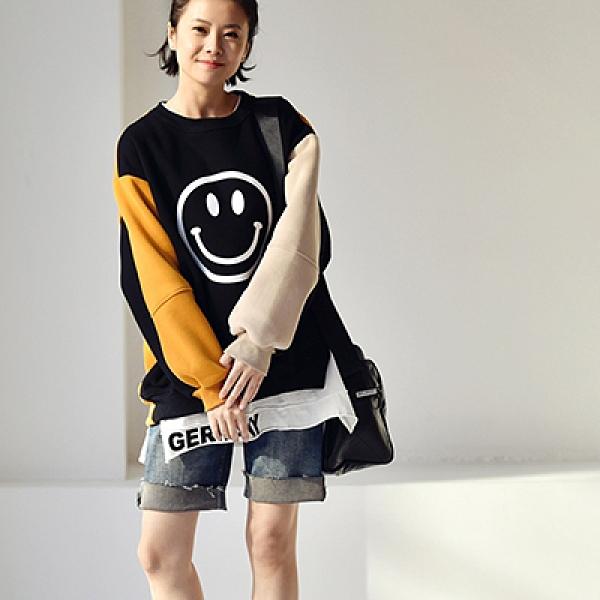 笑臉印花衛衣 拼接撞色長袖T恤 圓領內搭上衣-夢想家-R9267C-0112