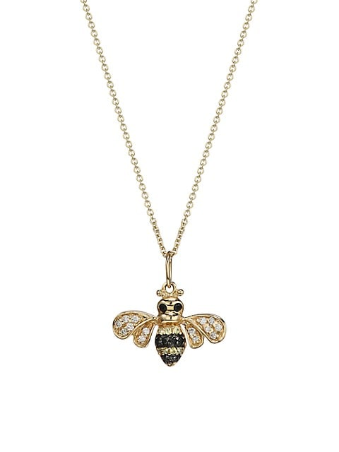 14K Two-Tone Gold, Two-Tone Diamond & Sapphire Bee Pendant Necklace