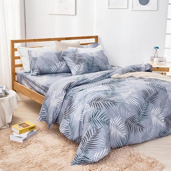 床包被套組(薄被套)-雙人加大 / 精梳純棉四件式 / 暮間葉光 台灣製