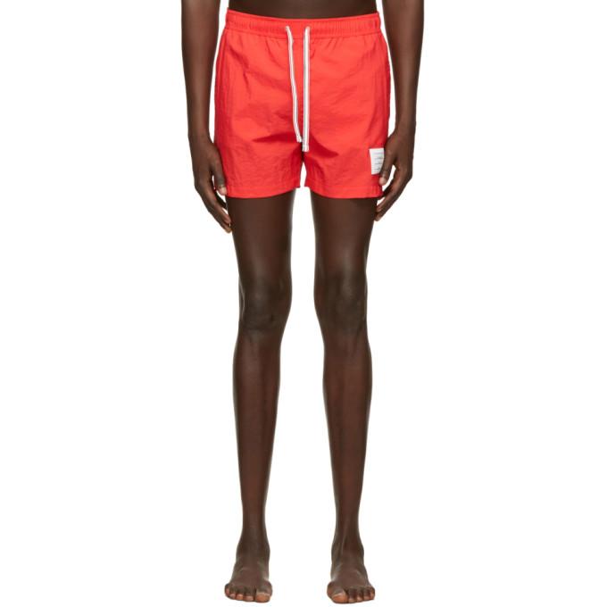 Thom Browne 红色 Drawcord 泳裤
