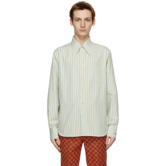 Gucci 灰白色 and 蓝色条纹衬衫