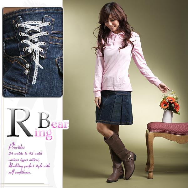 百褶裙--獨特迷人造型側邊蕾絲釦環水鑽釦大百摺蓋袋牛仔短裙(S-7L)-Q05眼圈熊中大尺碼