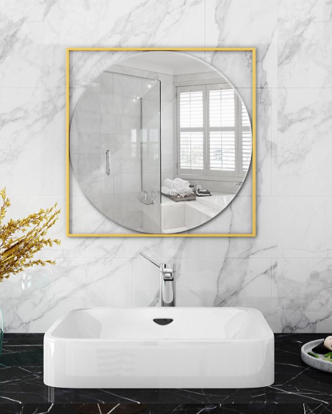 鏡子 壁掛鏡 化妝鏡 40*40cm 北歐梳妝鏡 浴室鏡衛生間鏡子壁掛裝飾鏡鏤空鏡洗手間鏡簡約玄關鏡
