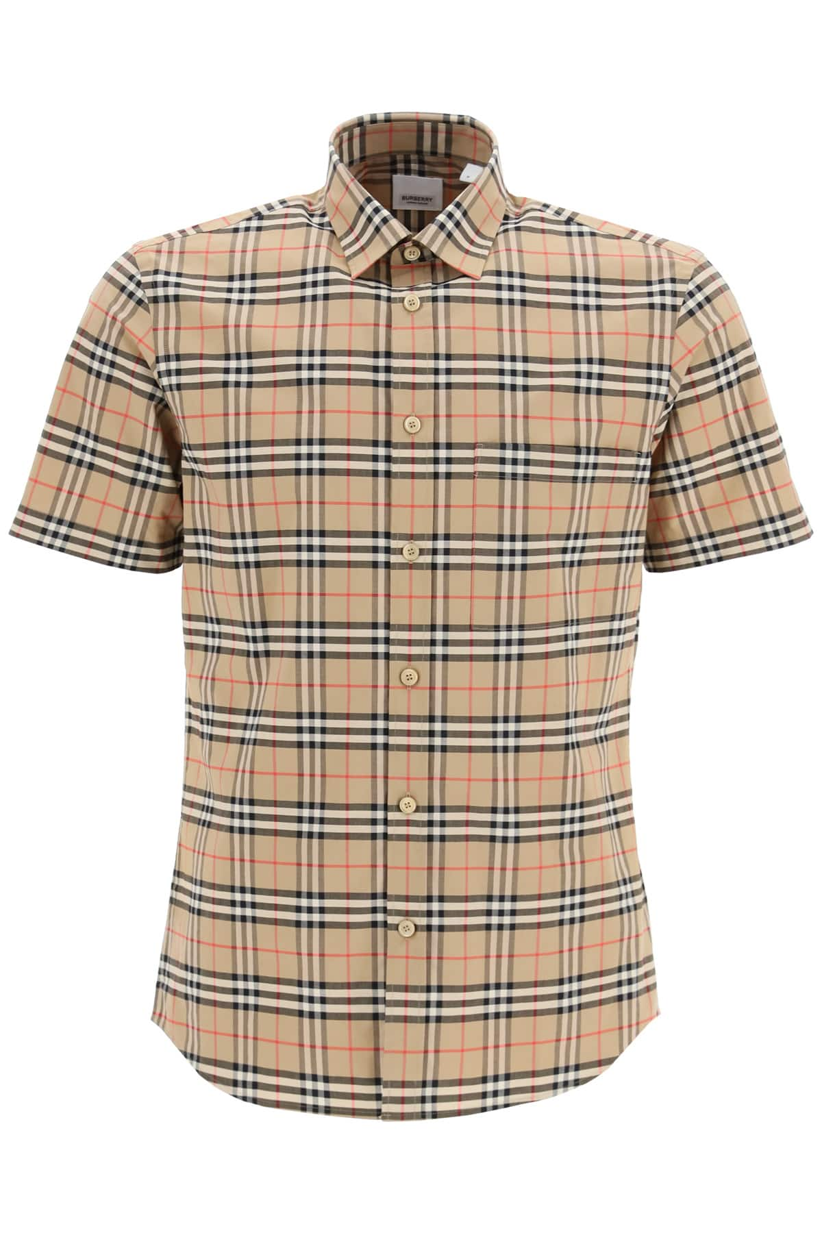 BURBERRY SIMPSON SHIRT WITH TARTAN PATTERN L Brown, Black, Red Cotton