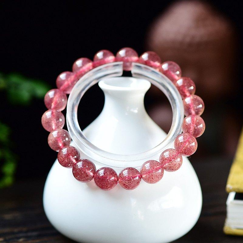 精品天然草莓晶10MM手鏈 旺財運 防小人招好人緣 女生必備