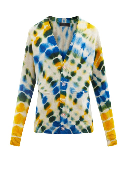 The Elder Statesman - Illusion Tie-dye Cashmere Cardigan - Womens - Yellow Multi
