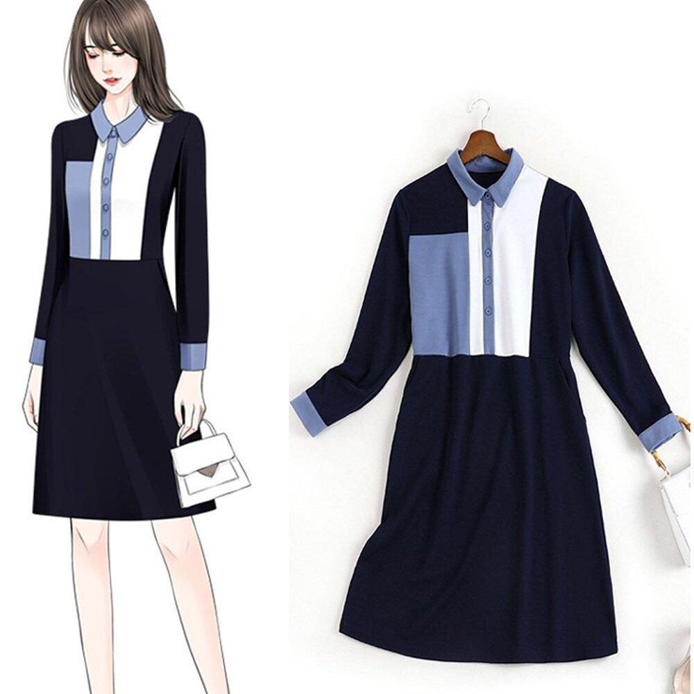 【麗質達人】CM10972藍白拼色假二件洋裝(XL-5XL)