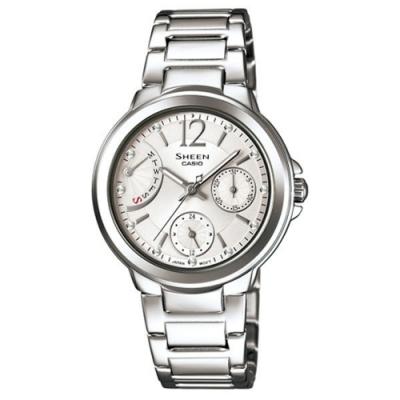 CASIO SHEEN系列 優雅羅馬晶鑽三眼鑽錶-銀-SHE-3804D-7AUDR-32mm